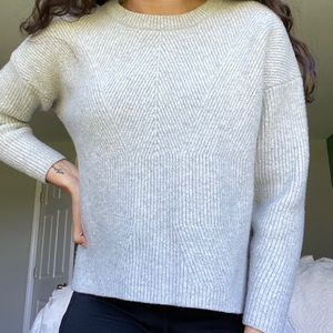 Madewell Gray Moderne Crewneck High-Low Sweater